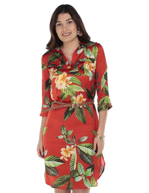 370cbd264 Vestido Punt Roma rojo con diseño floral casual