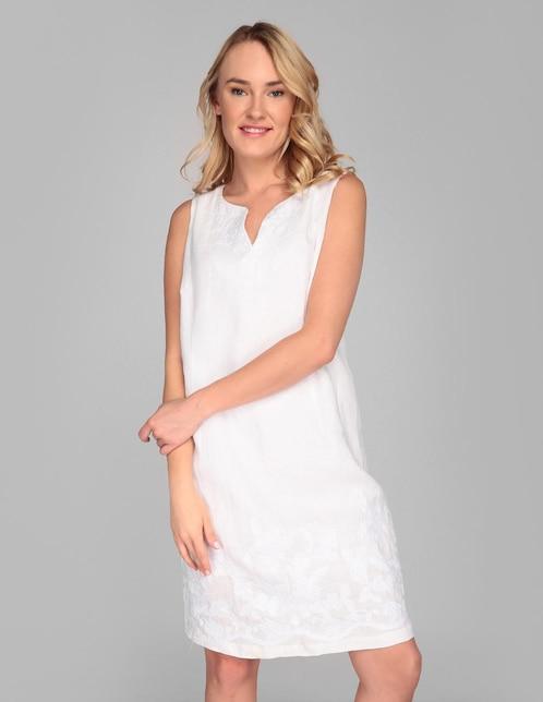 9b63e858f Vestido Punt Roma lino blanco casual