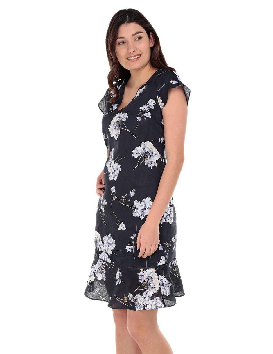 Vestido lino punto roma